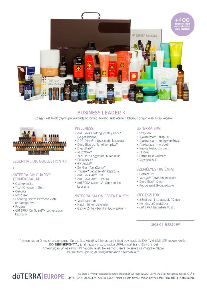 DoTERRA Belépő csomagok 2020
